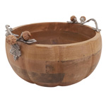 HA188 Wooden Bowl With Pumpkin Handles