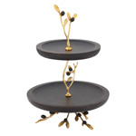 HA598 2-Tier Wooden Stand With Olive Handles