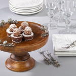 HA865 wood cake stand w/ pine cone accent