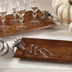 HA948 wooden tray /w reindeer handle