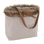HB209 Faux Fur Kraft Paper Hand Bag