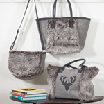 HB899 faux fur reindeer design handbags
