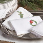 NM105 embr'd deer hemstitch napkin