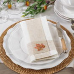 2231 Embroidered Leaf Hemstitch Napkin