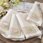 2233 Embroidered Orchid Hemstitch Napkin