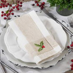 2237 embroidered holly hemstitch napkin