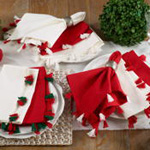 2310 red napkin with red and green tassels