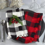 9026 fringed buffalo plaid napkin