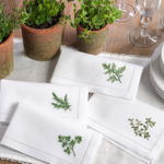 NM101 embr'd rosemary hemstitch napkin
