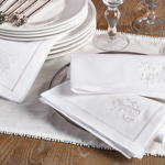 NM109 embr'd white vine hemstitch napkin