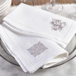 NM111 embr'd  medallion  hemstitch napkin