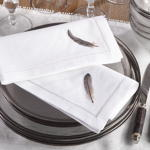 NM121 grey feather hemstitch napkin