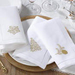 NM129 embr'd pine tree hemstitch napkin