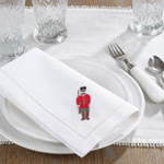NM135 embr'd soldier hemstitch napkin
