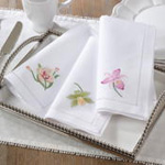 NM144 embr'd pink orchid hemstitch napkin