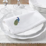 NM147 embr'd peacock hemstitch napkin
