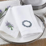 NM148 embr'd lavender wreath hemstitch na