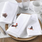 NM152 embr'd turkey hemstitch napkin