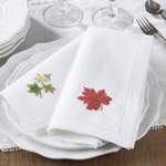 NM153 embr'd fall leaf hemstitch napkin