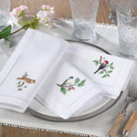 NM155 embr'd bird hemstitch napkin