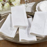 NM163 embr'd flower hemstitch napkin