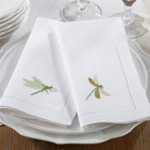 NM168 embr'd dragonfly hemstitch napkin