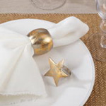 NR182 gold texture star napkin ring