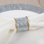 NR483 galvanized + gold rim napkin ring