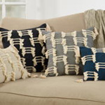 1178 tri-line frayed pillow