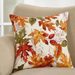 1227 embroidered autumn leaves pillow