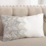1255 metallic leather chevron pillow