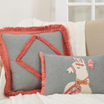 138 cotton fringe lace appliqué pillow