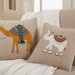 1751 embroidered + beaded camel pillow