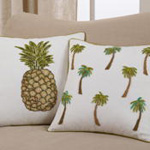 1740 beaded palm tree pillow