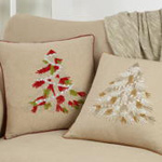1912 beaded christmas tree pillow