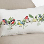 263 printed + embroidered birds pillow