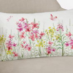 283 printed + embroidered floral pillow