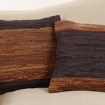 3012 two-tone leather chindi pillow
