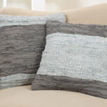 3014 two-tone leather chindi pillow