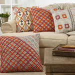 3102 block print embroidered pillow