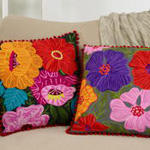 3148 embroidered flower pillow