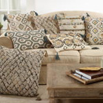 3172 block print embroidered pillow
