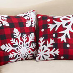3638 buffalo plaid snowflake pillow
