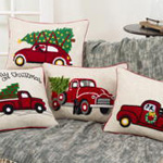 4120 vintage red truck holiday pillow