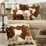 471 faux fur cow hide pillow