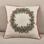 5483 holly wreath w/ bells pillow
