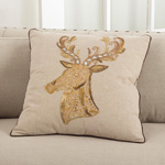 5975 embroidered and beaded deer design pillows