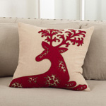 6016 embr'd deer design pillow