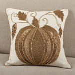 611 beaded pumpkin pillow