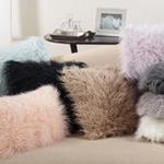 706 faux mongolian fur pillow
